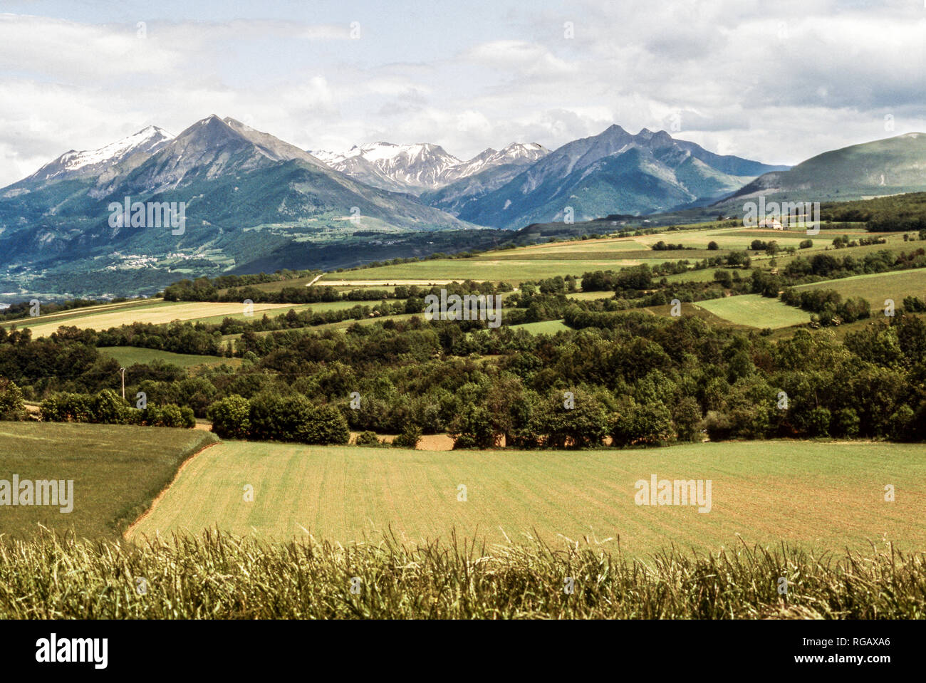 France.Department of Hautes-Alpes.View of the Ecrins National Park from near the town of Gap. - Stock Image
