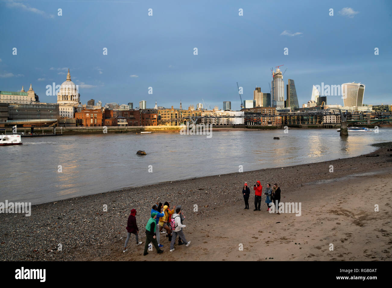 The Beach at Southbank with St. Pauls and the Square mile, London, - Stock Image