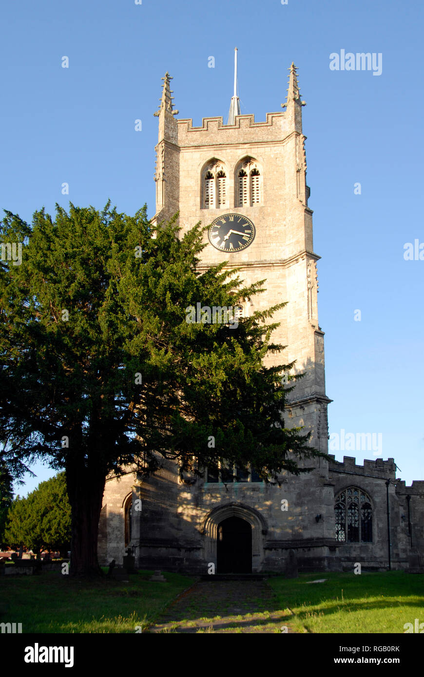 Church of St Mary, with tower, in the market town of Devizes, Wiltshire, England. - Stock Image