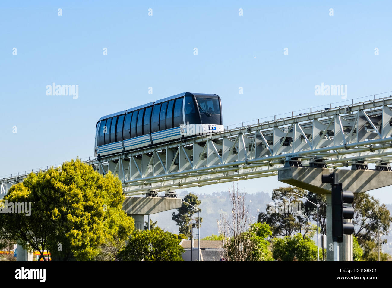 April 14, 2018 Oakland / CA / USA - BART train transporting people to the airport - Stock Image