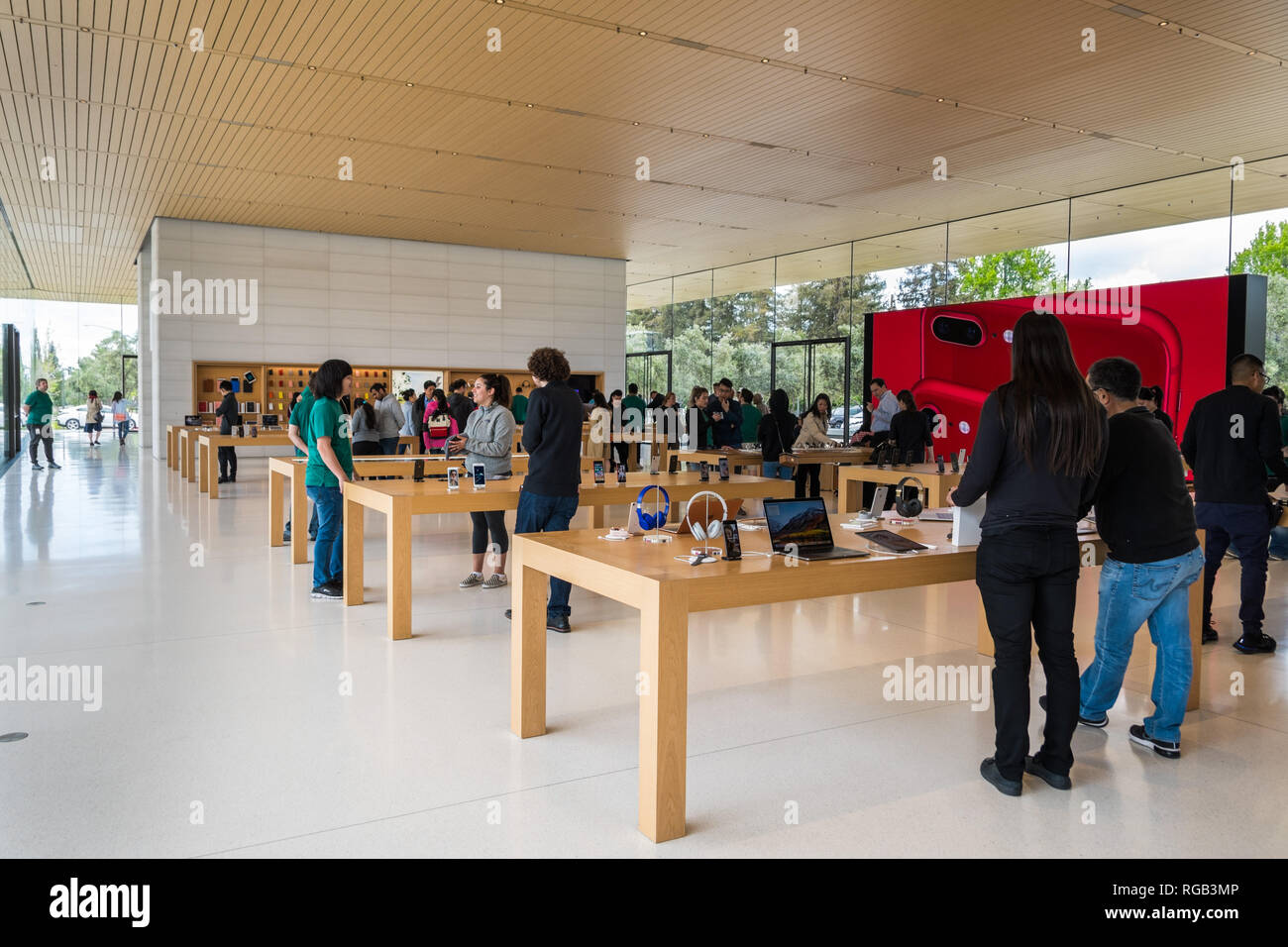 April 29, 2018 Cupertino / CA / USA - People testing the