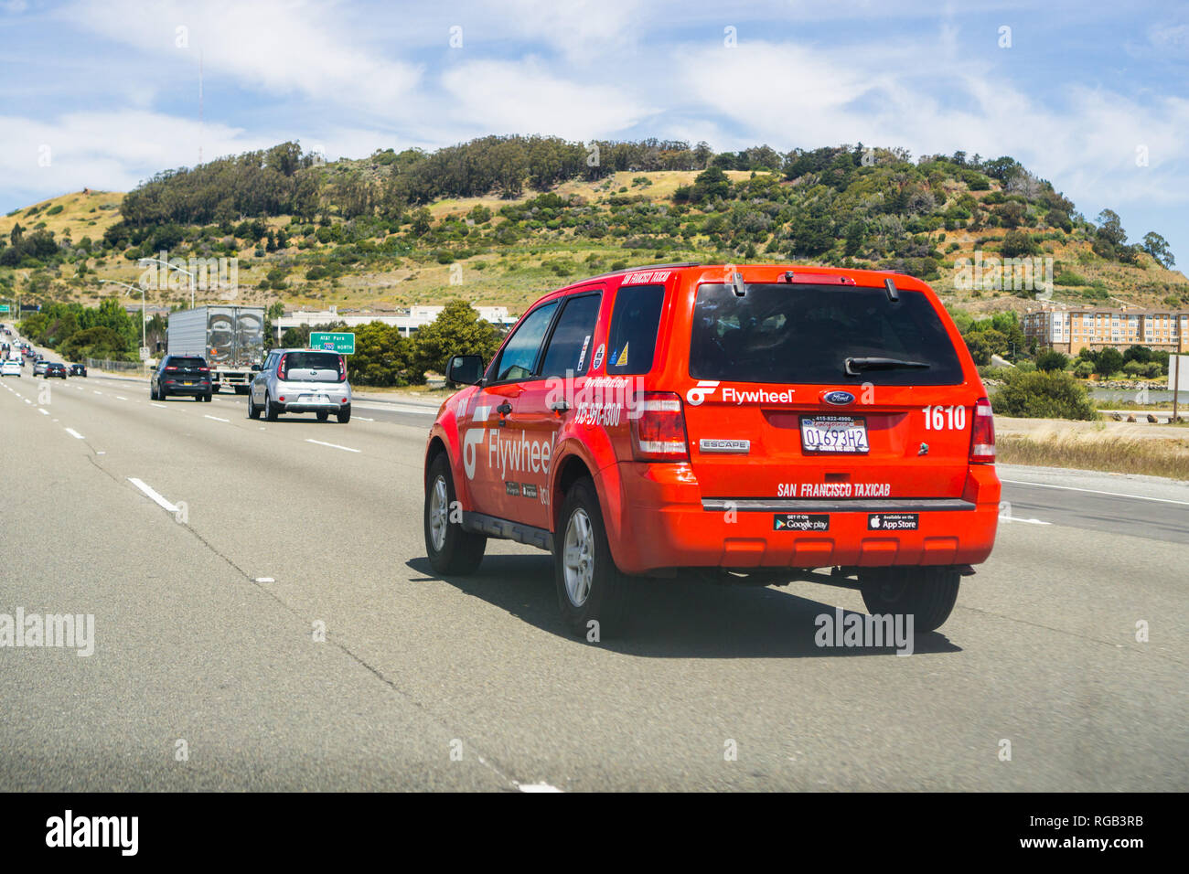 May 6, 2018 San Francisco / CA / USA - Flywheel Taxicab driving on the highway - Stock Image