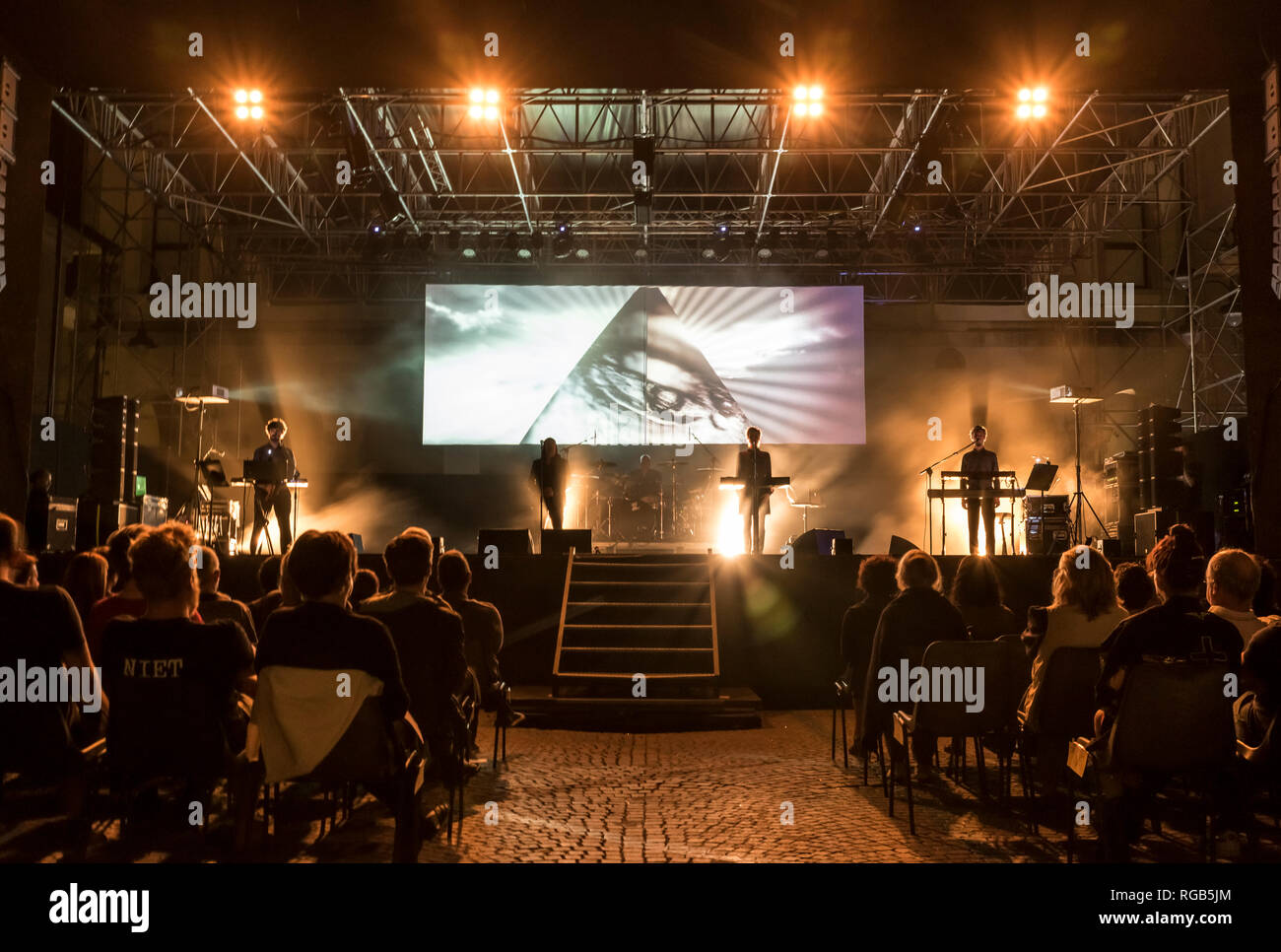 The slovenian band Laibach performing live for MITTELFEST 2017 in Cividale, Italy. - Stock Image