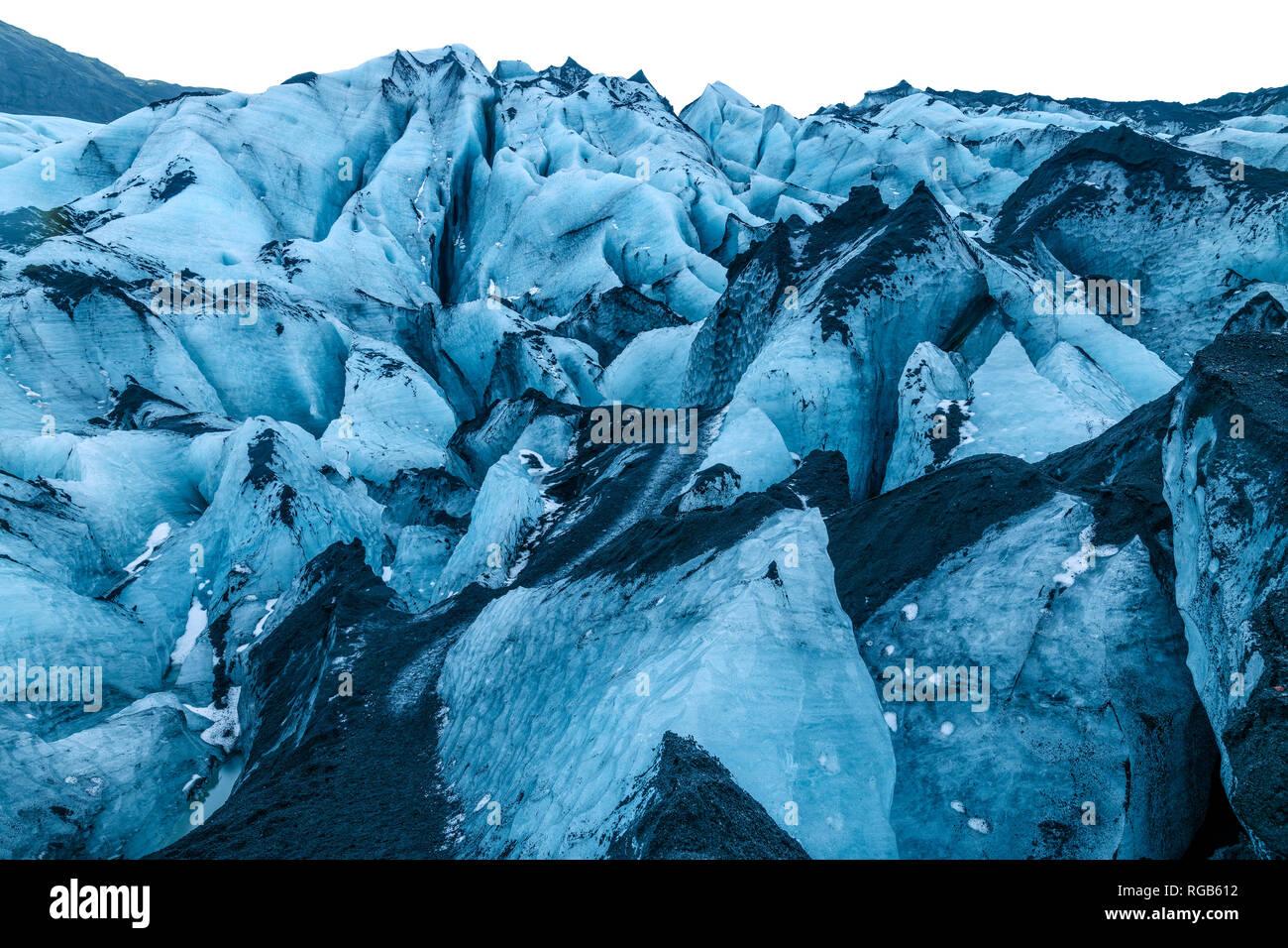 Myrdalsjokull Glacier at Mýrdalshreppur near Vik, Iceland, in Winter - Stock Image
