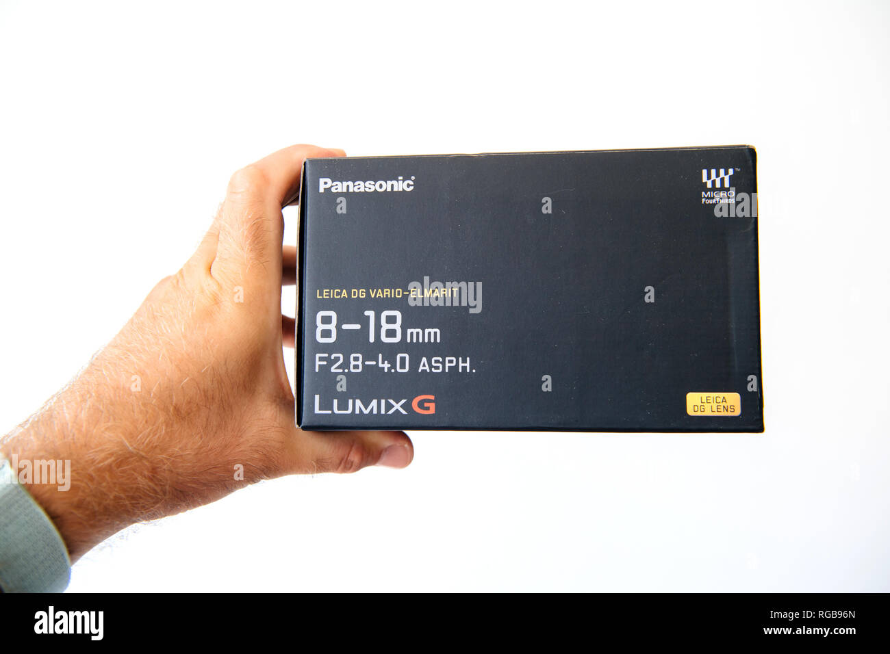 PARIS, FRANCE - JUN 30, 2018: Cardboard with Leica Vario-Elmarit 8-18 Micro for Four Thirds System digital still and video camera mirorrless - Stock Image