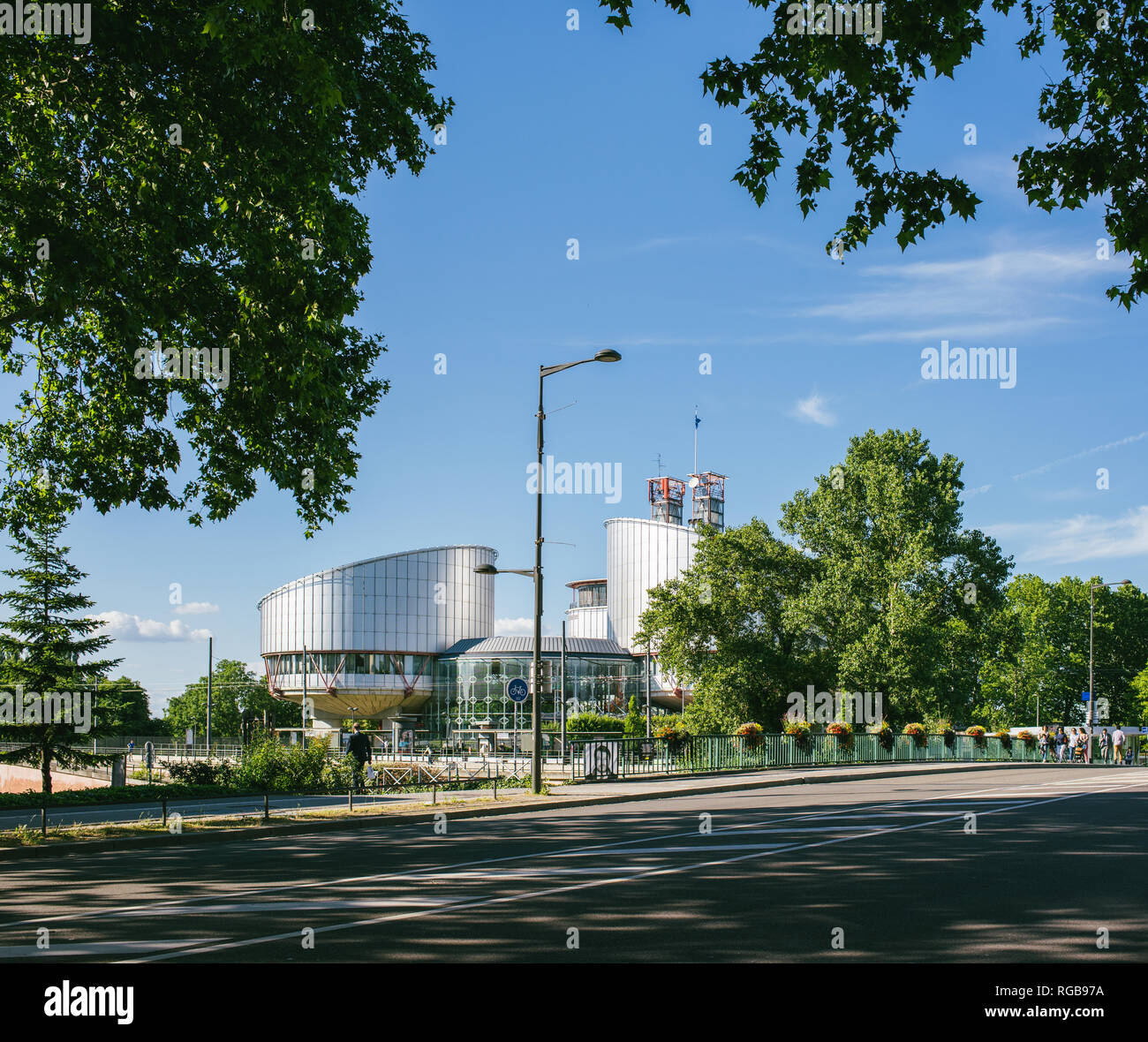 STRASBOURG, FRANCE - JUN 25, 2018: European Court of Human Rights building in the summer evening - Stock Image