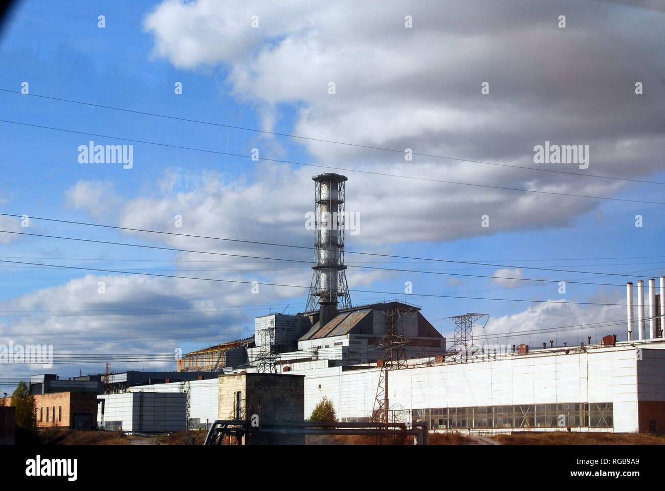 The Chernobyl Nuclear Power Plant sarcophagus covering reactor number 4 that was replaced in 2017 - Stock Image