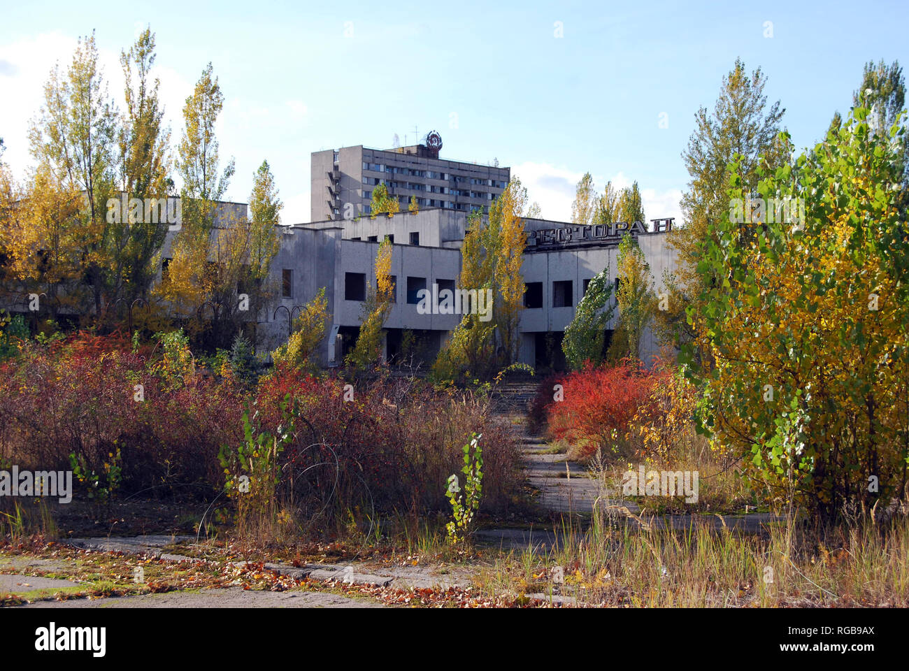 The abandoned streets and buildings in the town of Pripyat in the Chernobyl Exclusion Zone, Ukraine Stock Photo