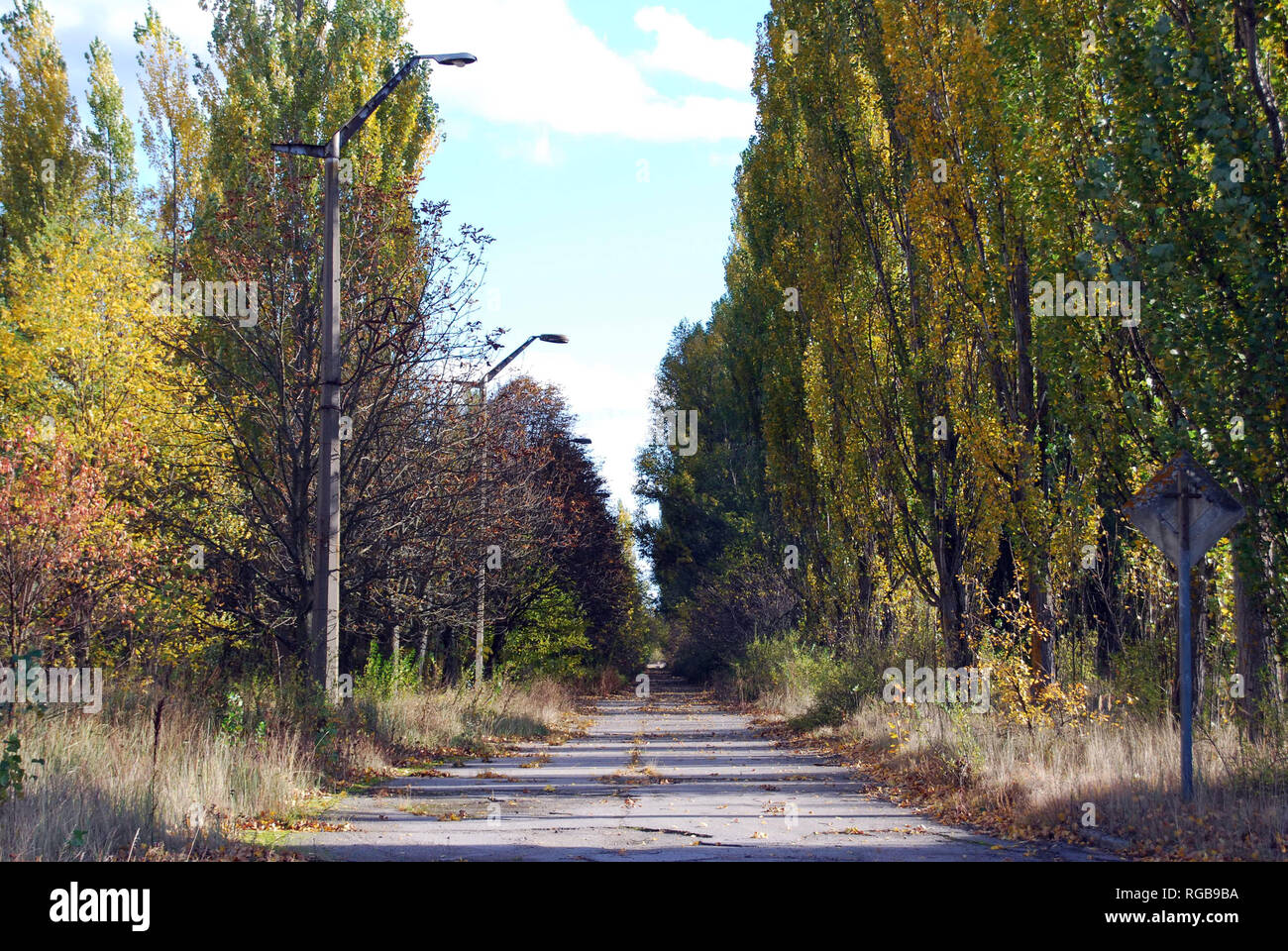 The abandoned streets and buildings in the town of Pripyat in the Chernobyl Exclusion Zone, Ukraine - Stock Image