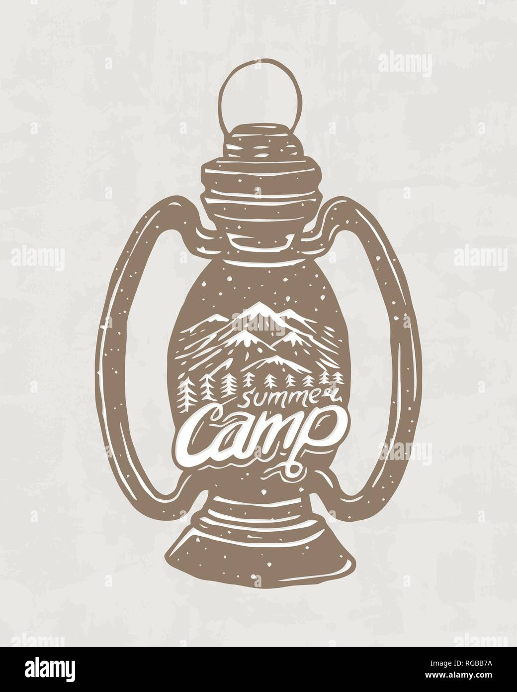 Kerosene lamp or candle or flashlight. Camping logo and label. Mountains and pine trees. Trip in the forest, outdoor and adventure. Colored badge on - Stock Vector