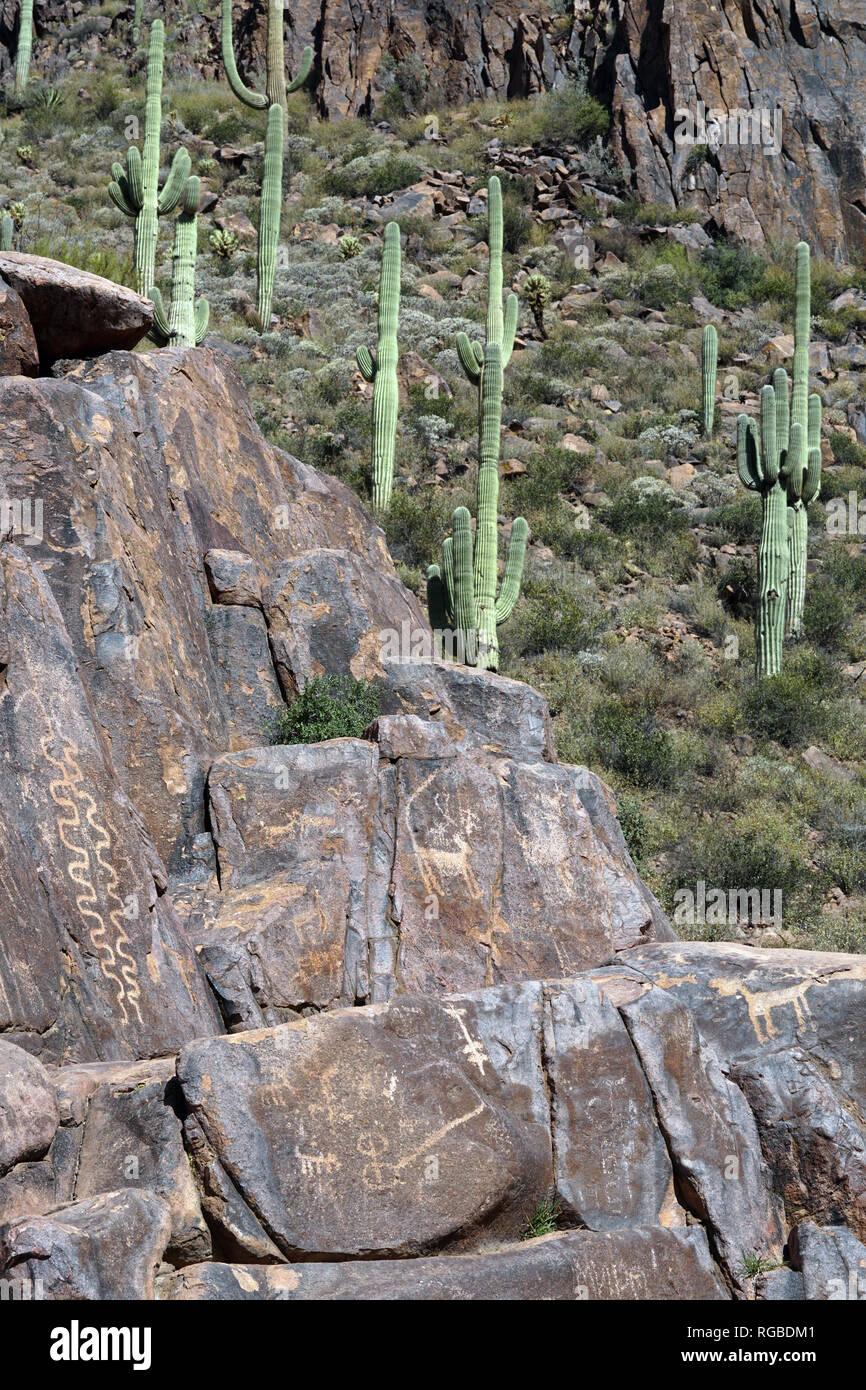 Hieroglyphics are everywhere along Hieroglyph trail in Phoenix, Arizona. - Stock Image