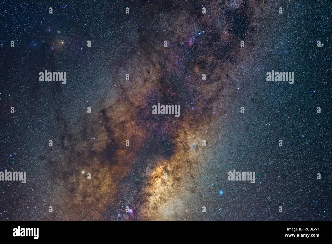 Close up detail of the galactic centre of the Milky Way galaxy and Rho Ophiuchi - Stock Image