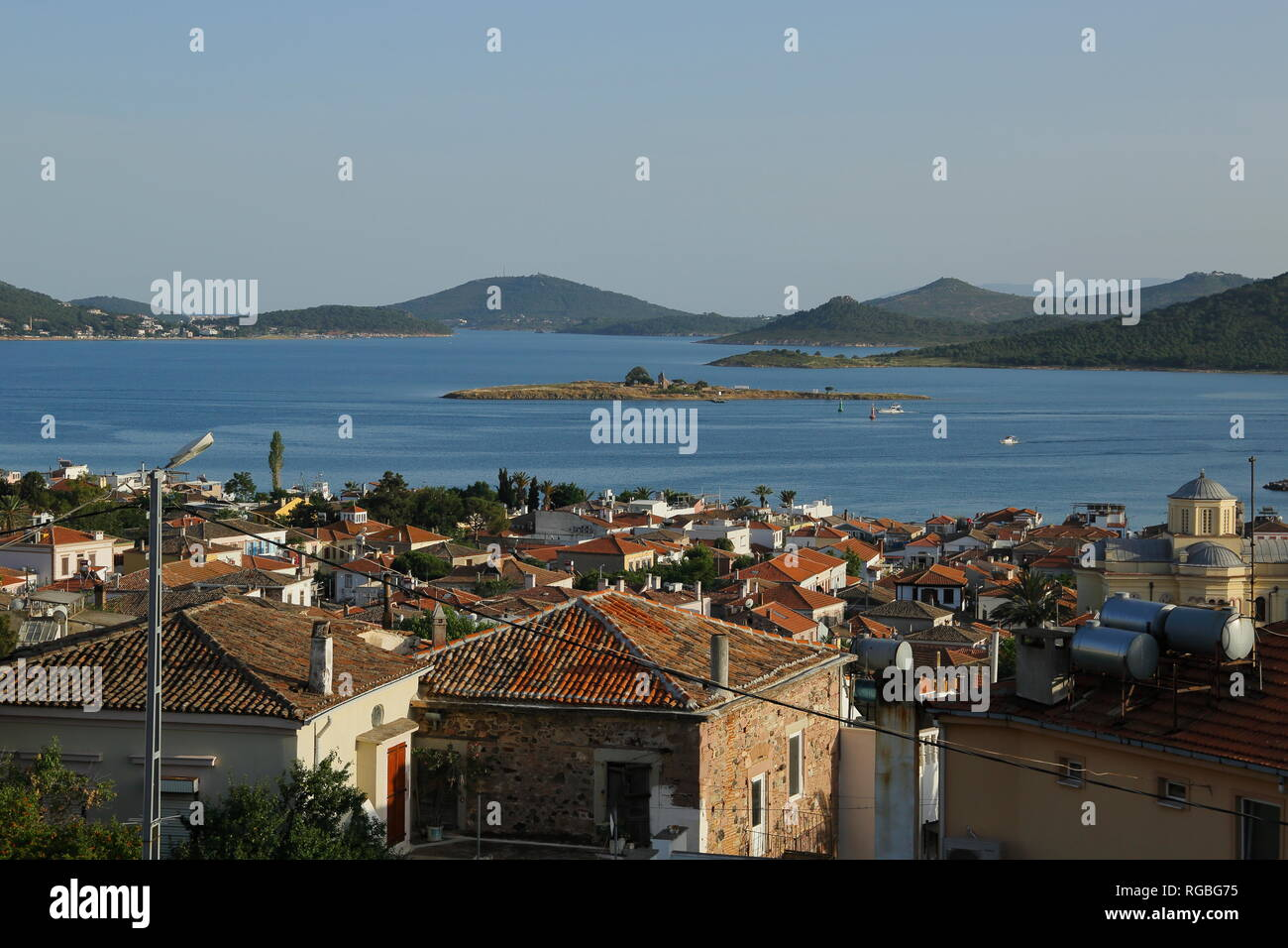 Historical and touristic Cunda Island. (Alibey island) Ayvalık, Turkey. View from a hill. - Stock Image