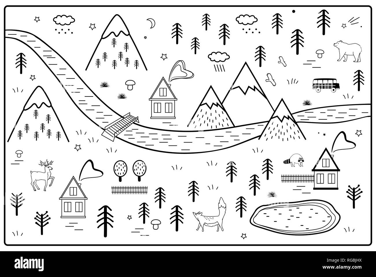 Vector River, Mountains and Woods Adventure Map with Houses and Animals. Scandinavian Style Art Nursery Monochrome Door or Wall Mat. - Stock Vector
