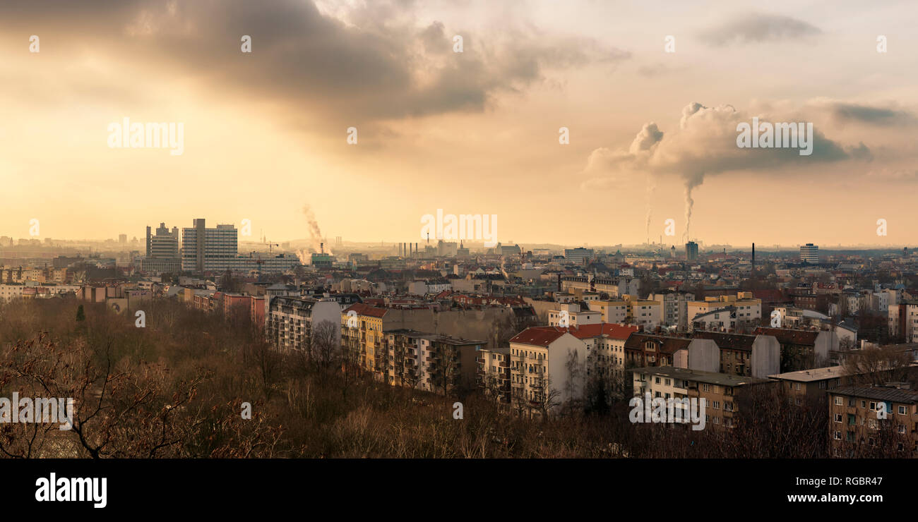 The Berlin borough of Wedding, as seen from the flak tower in Volkspark Humboldthain. - Stock Image