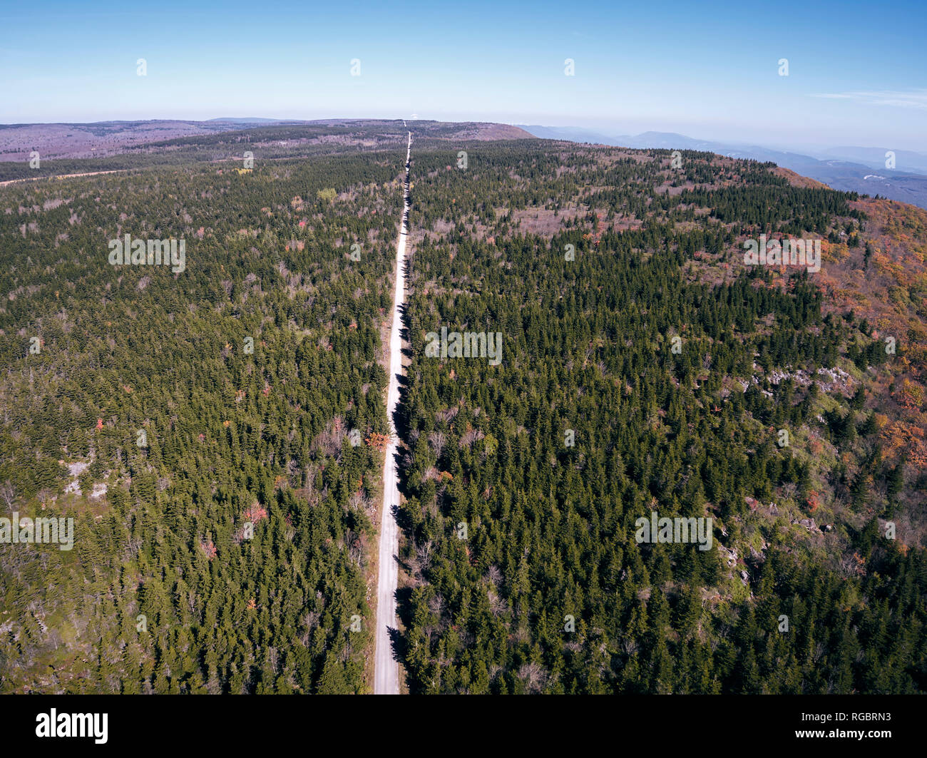 USA, West Virginia, Aerial view of road through Dolly Sods Wilderness area Stock Photo