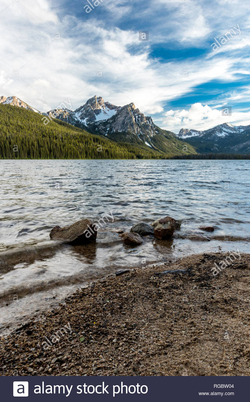 Beautiful Mount McGowen peak and Stanley Lake. Idaho never disappoints. - Stock Image