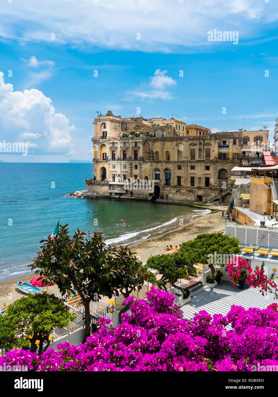 Italy, Campania, Neaples, Palazzo Donn'Anna at Gulf of Naples - Stock Image