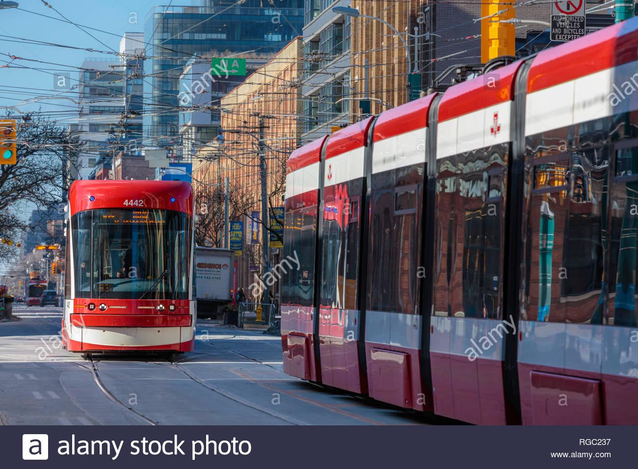 Toronto flexity outlook streetcar electric street railway on King Street in Toronto Ontario Canada - Stock Image