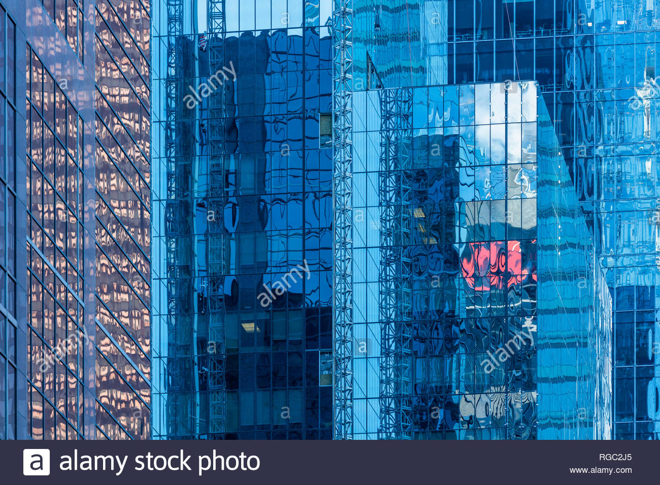 Office building skyscrapers glass walls in the financial district in Toronto Ontario Canada - Stock Image