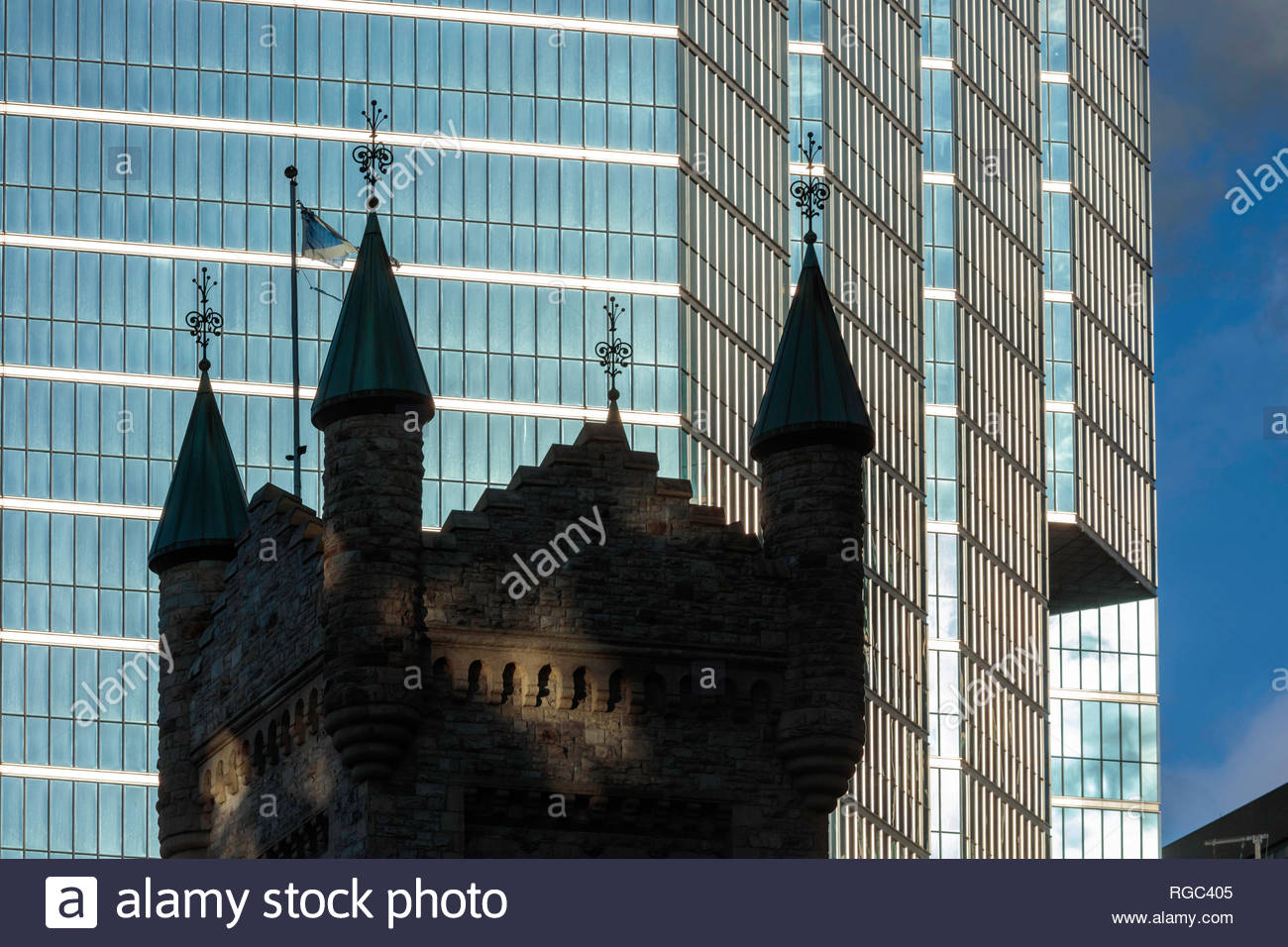St Andrew's Church tower amongst office towers in the financial district in Toronto Ontario Canada - Stock Image