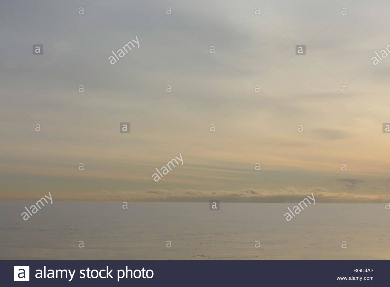 Soft thin transparent overcast cloudy sky over Lake Ontario in Ontario Canada - Stock Image