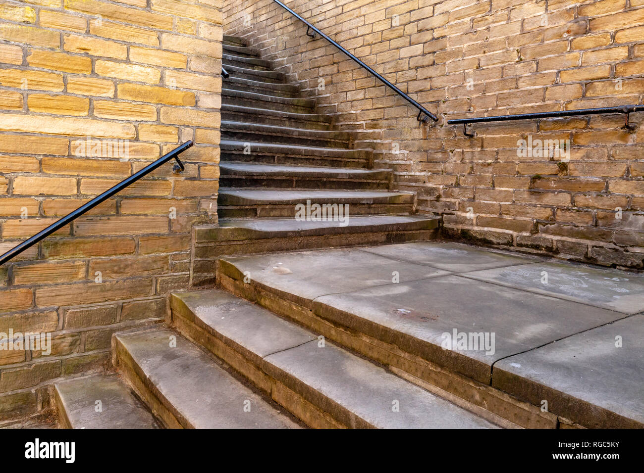 Two sets of outside steps at a right angle to each other, Saltaire, Yorkshire. - Stock Image