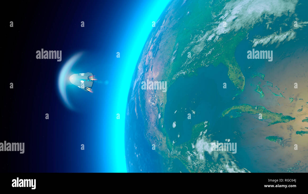 Spacecraft, crew carrier orbital capsule. Orbit around the Earth. Satellite view of the Earth. Atmosphere, friction. NASA. 3d rendering - Stock Image