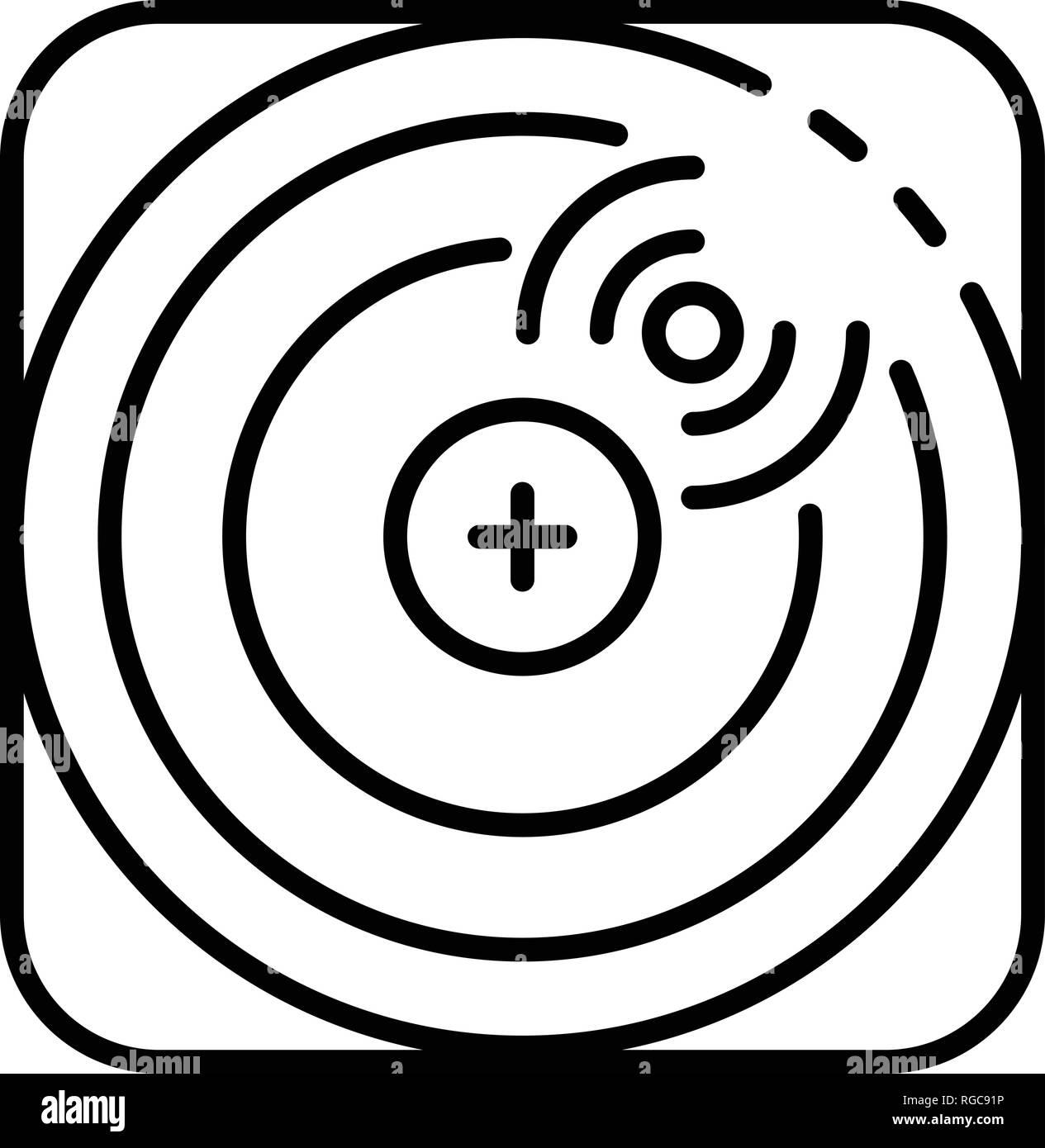Drone radar location icon, outline style Stock Vector Art