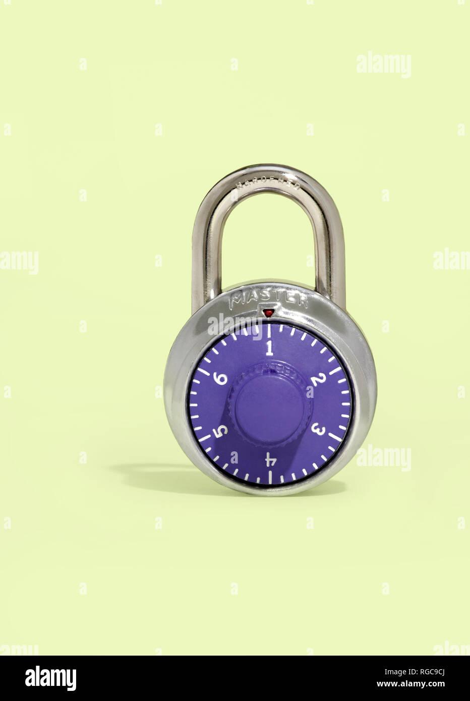 Master Lock combination padlock photo illustration depicting the most common password - Stock Image