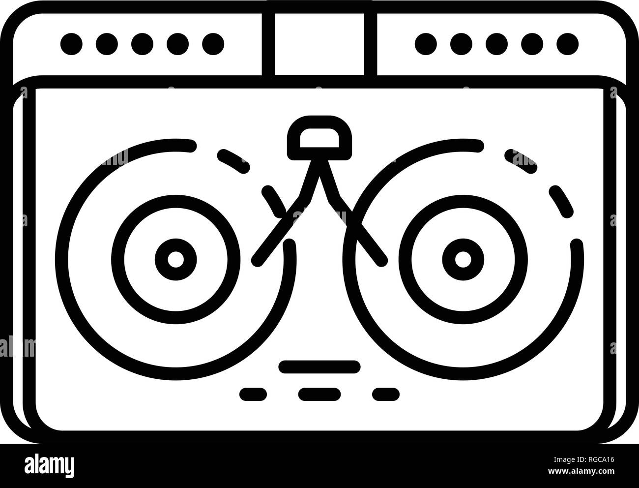 Dj desk hip hop icon, outline style Stock Vector