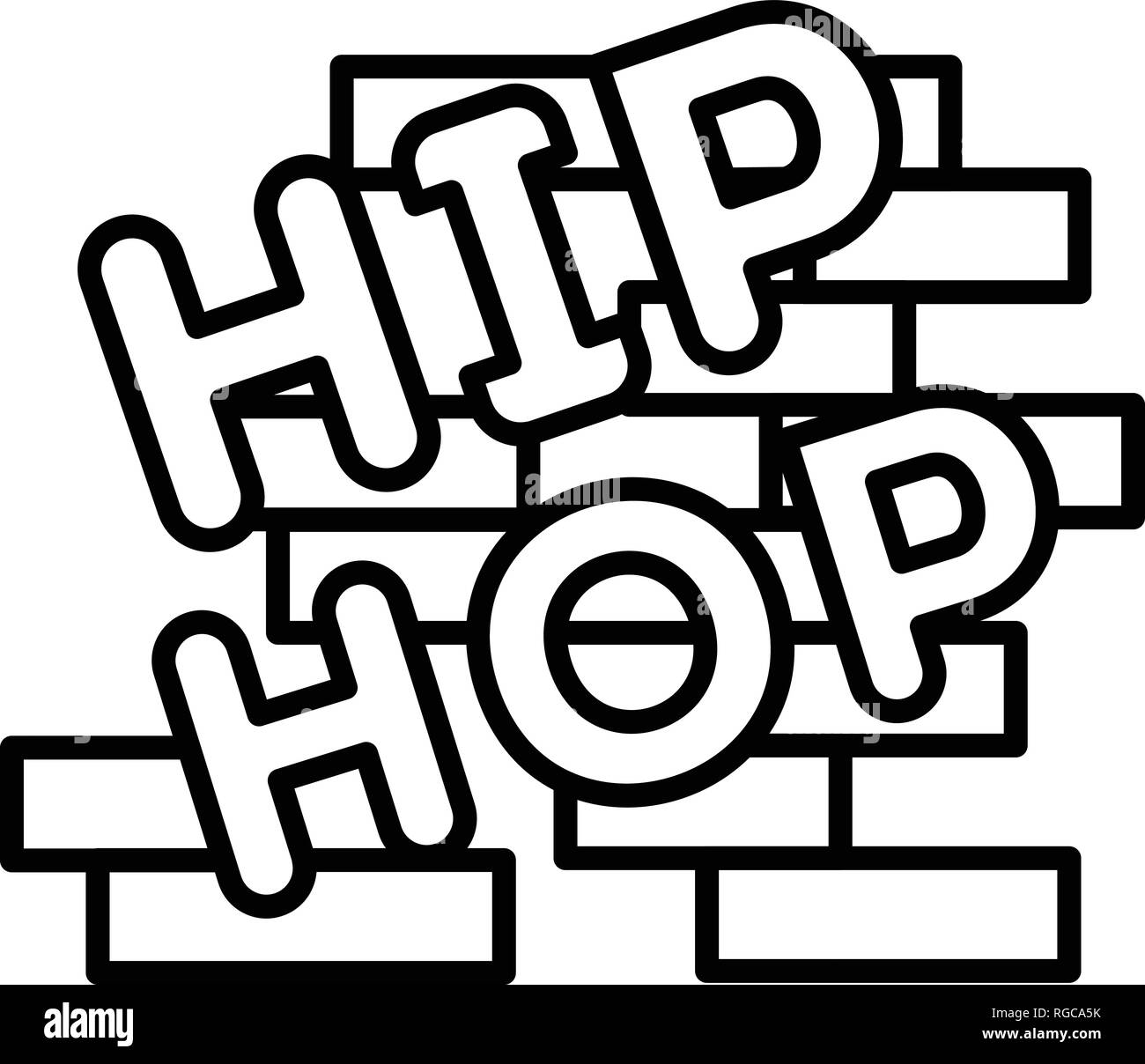 Hip hop on brick wall icon, outline style Stock Vector