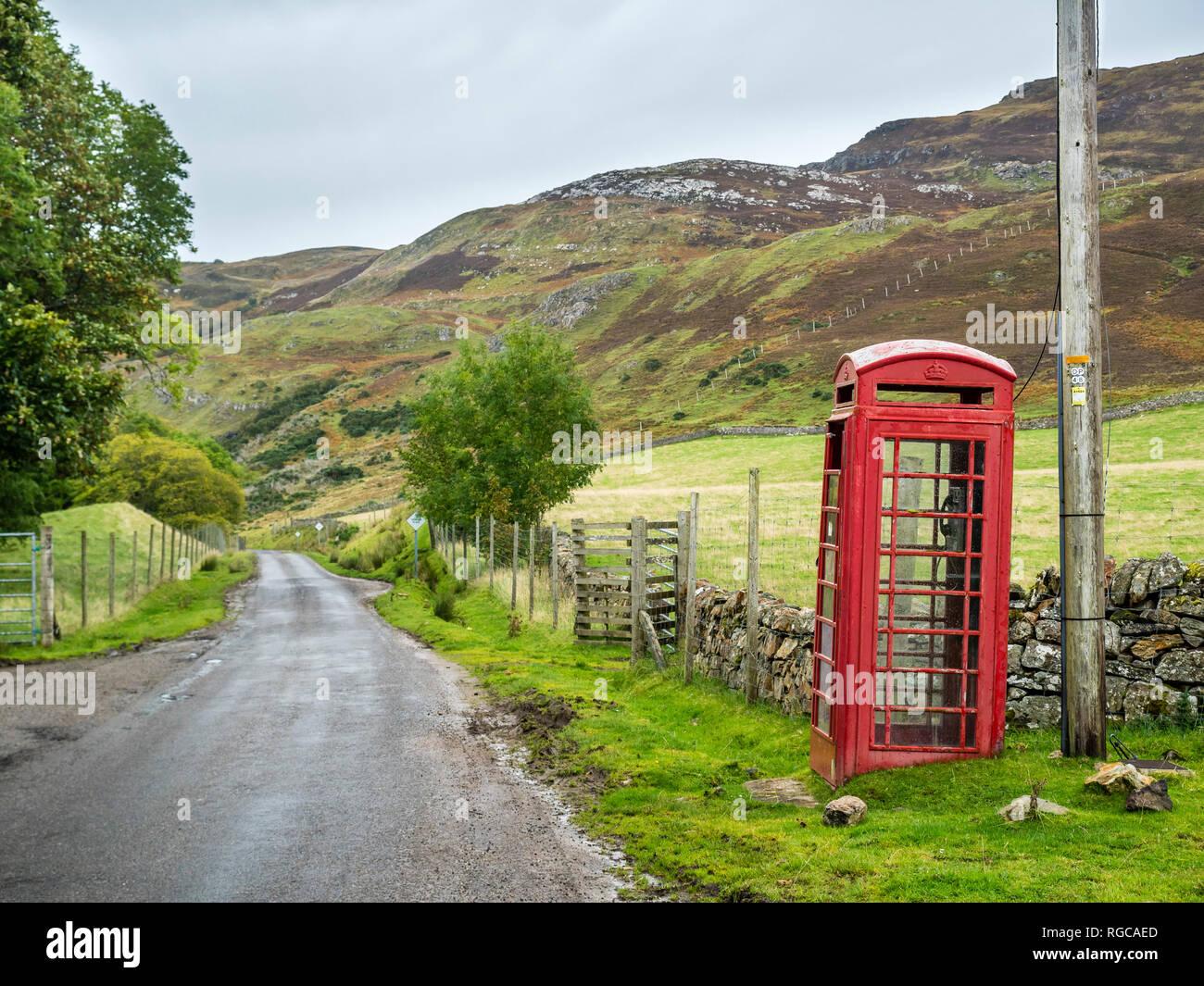 UK, Scotland, Highland, telephone booth at North Coast 500 - Stock Image