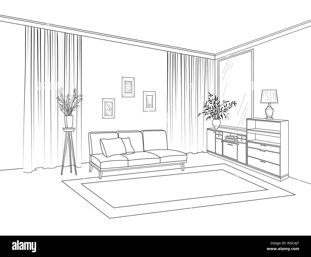 Home living room interior. Outline sketch of furniture with sofa