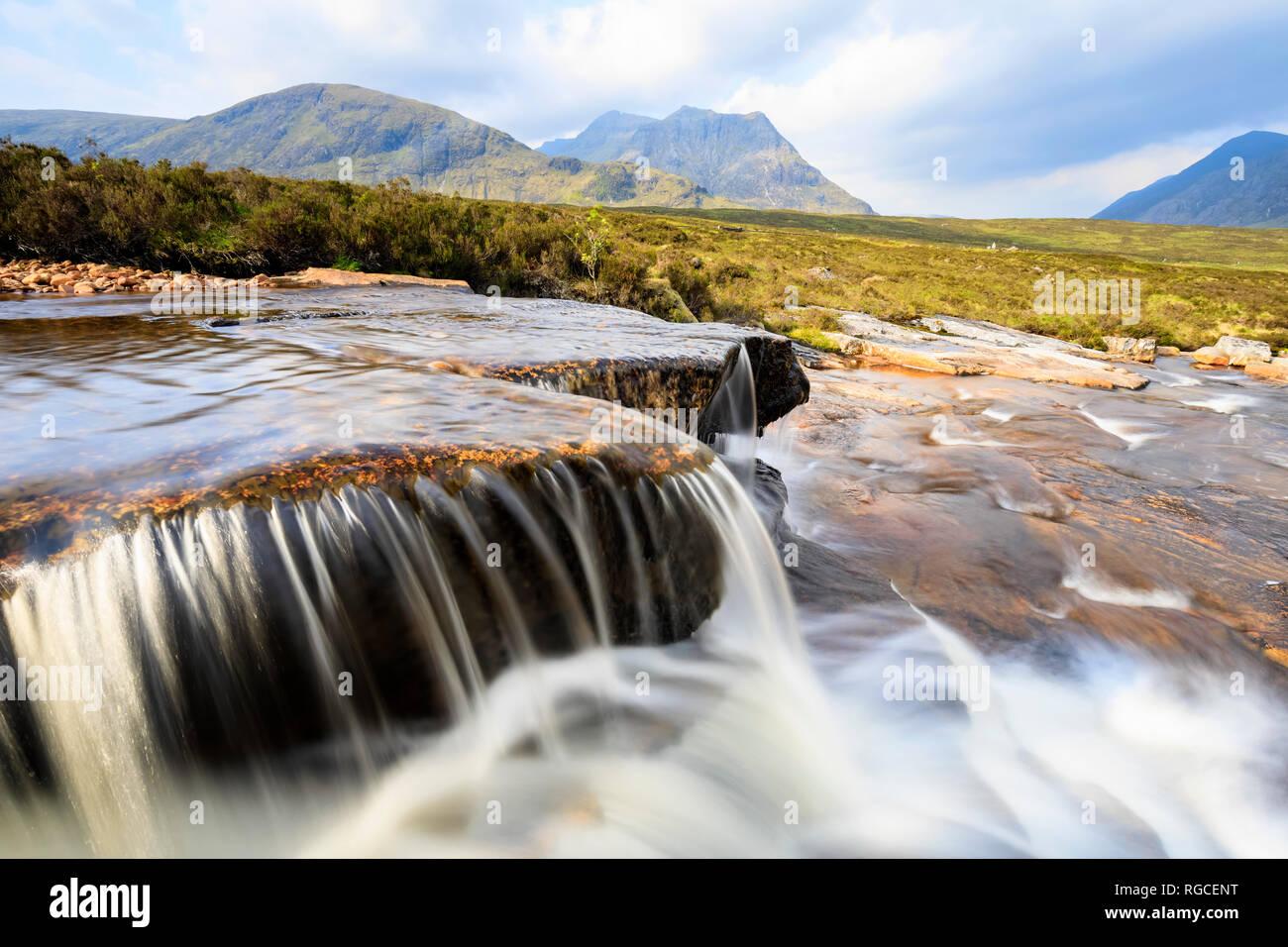 Great Britain, Scotland, Scottish Highlands, Rannoch Moor, Glencoe, Cauldon Waterfall Moutains Creise and Meall a'Bhuiridh - Stock Image