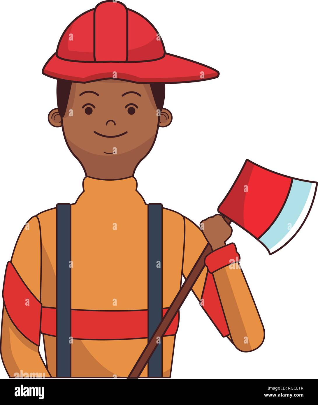firefighter hero upperbody cartoon - Stock Vector