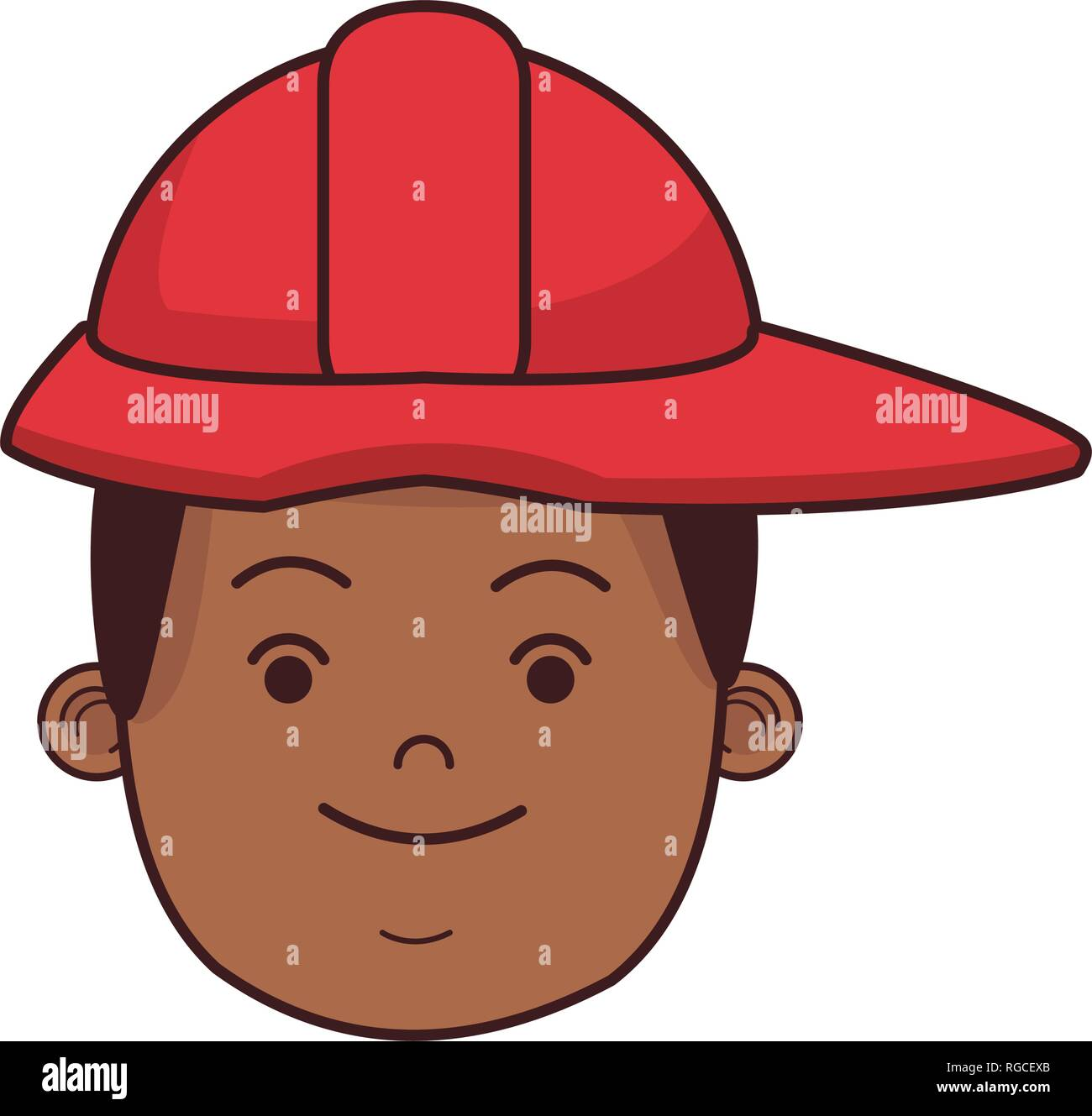 firefighter hero face cartoon - Stock Vector
