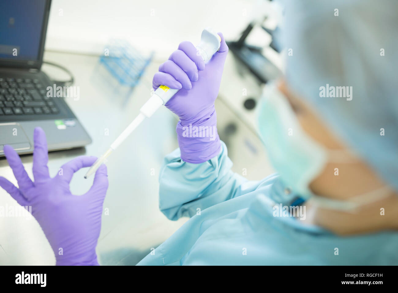 Preparation of check samples of stems in laboratory for drug production - Stock Image
