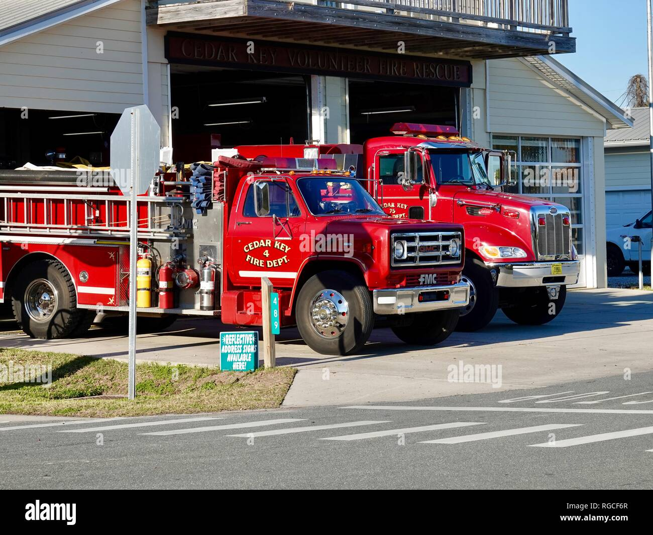 Cedar Key Volunteer Fire Rescue Department, Florida, USA. - Stock Image