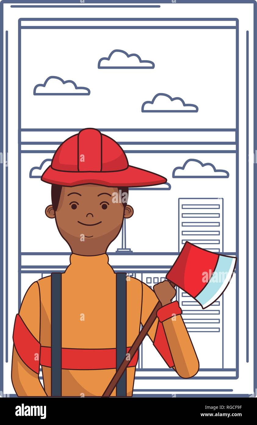 firefighter hero cartoon - Stock Vector