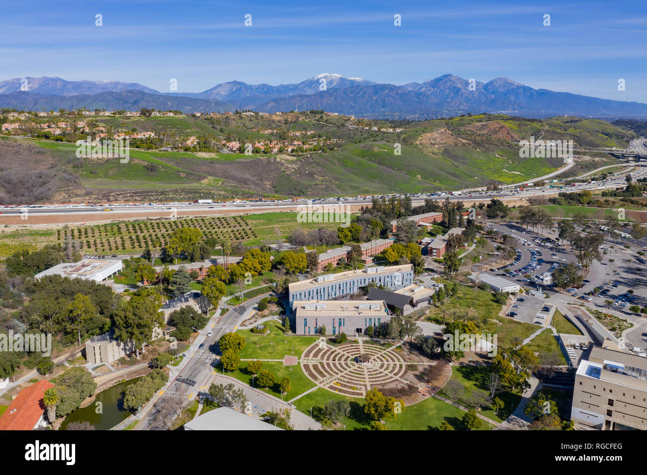 Aerial view of the beautiful rose garden with Mount Baldy of Cal Poly Pomona at Los Angeles County, California - Stock Image