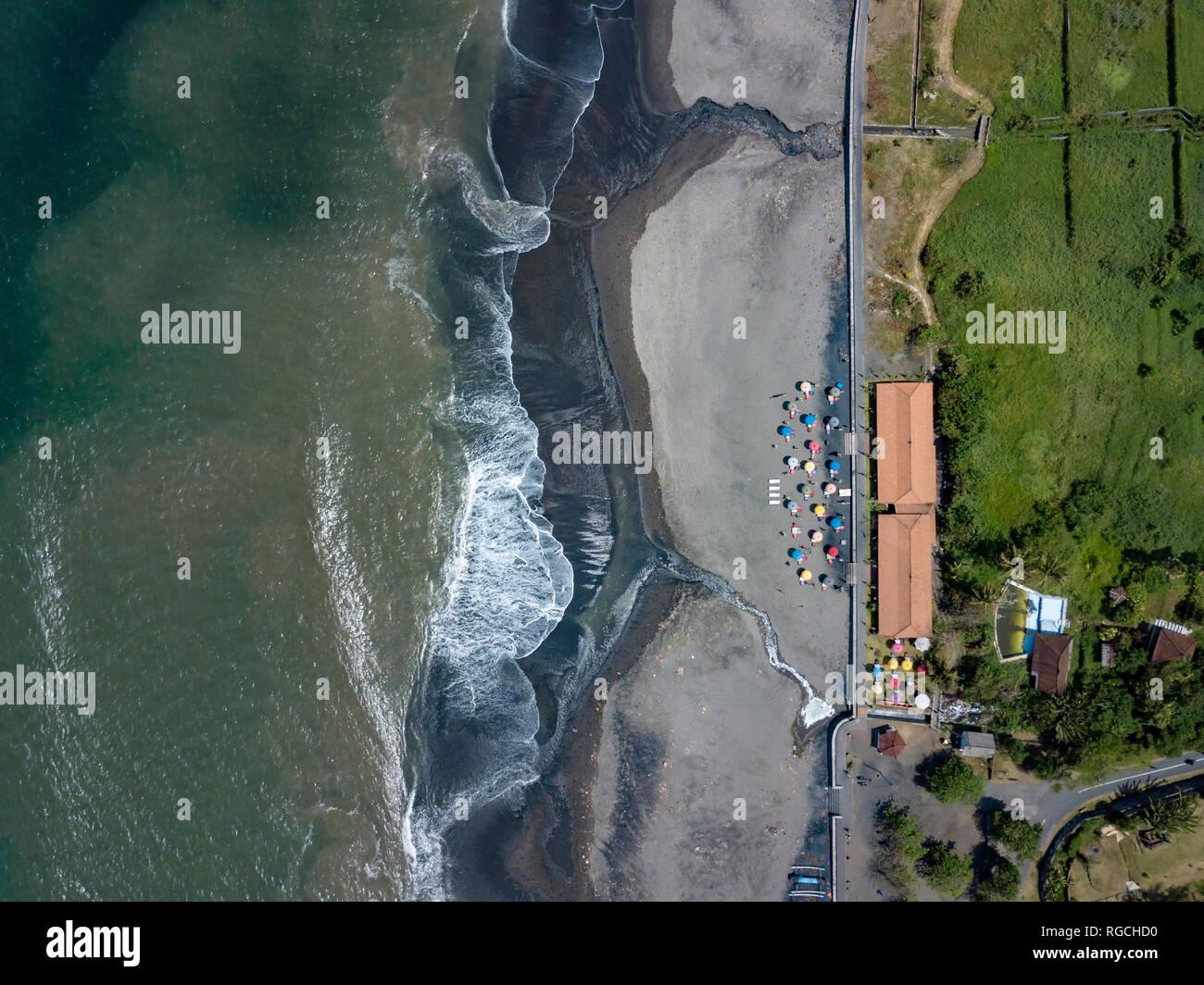 Indonesia, Bali, Aerial view of Yeh Gangga beach - Stock Image