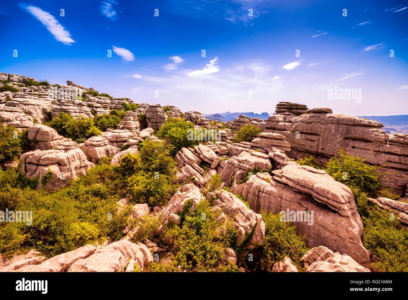 Spain, Málaga Province, Sierra del Torcal mountain range, El Torcal de Antequera nature reserve, limestone formations - Stock Image