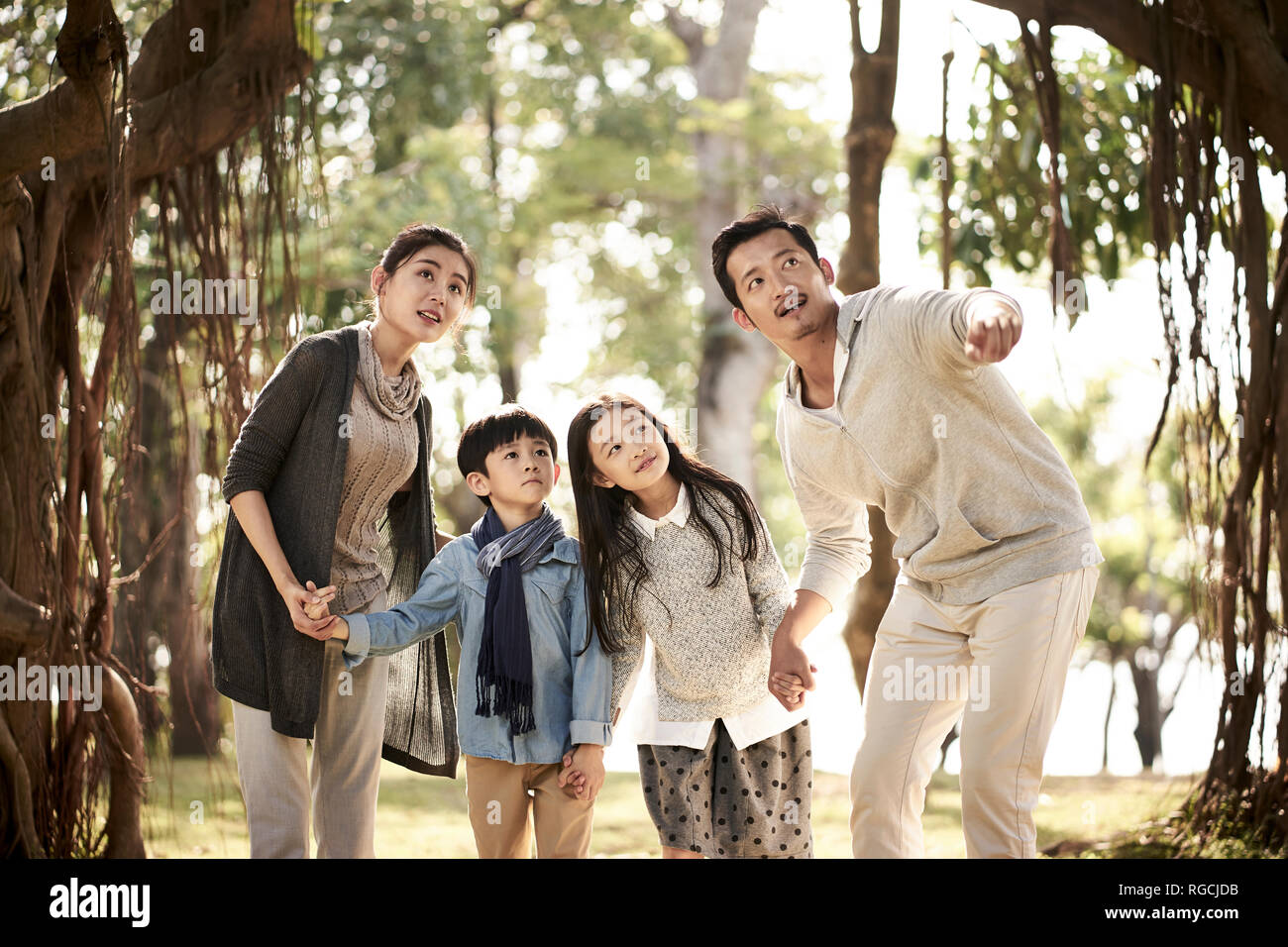 asian family with two children having fun exploring woods in a park. - Stock Image