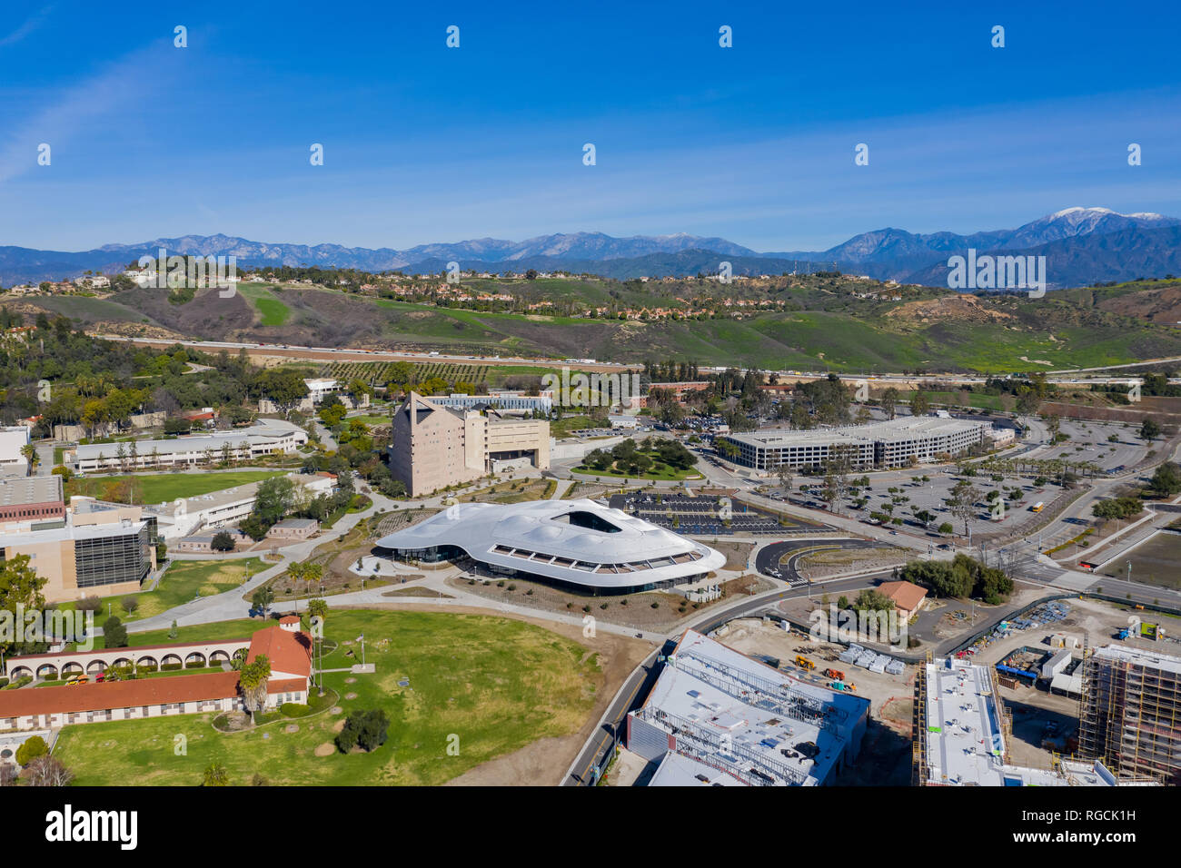 Aerial view of the Student Services Building of Cal Poly Pomona campus, California - Stock Image