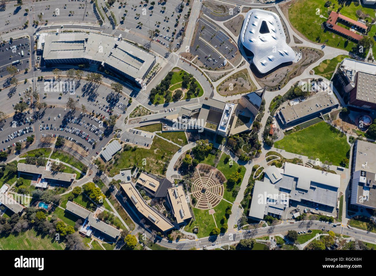 Aerial plan view of the Cal Poly Pomona campus, California - Stock Image