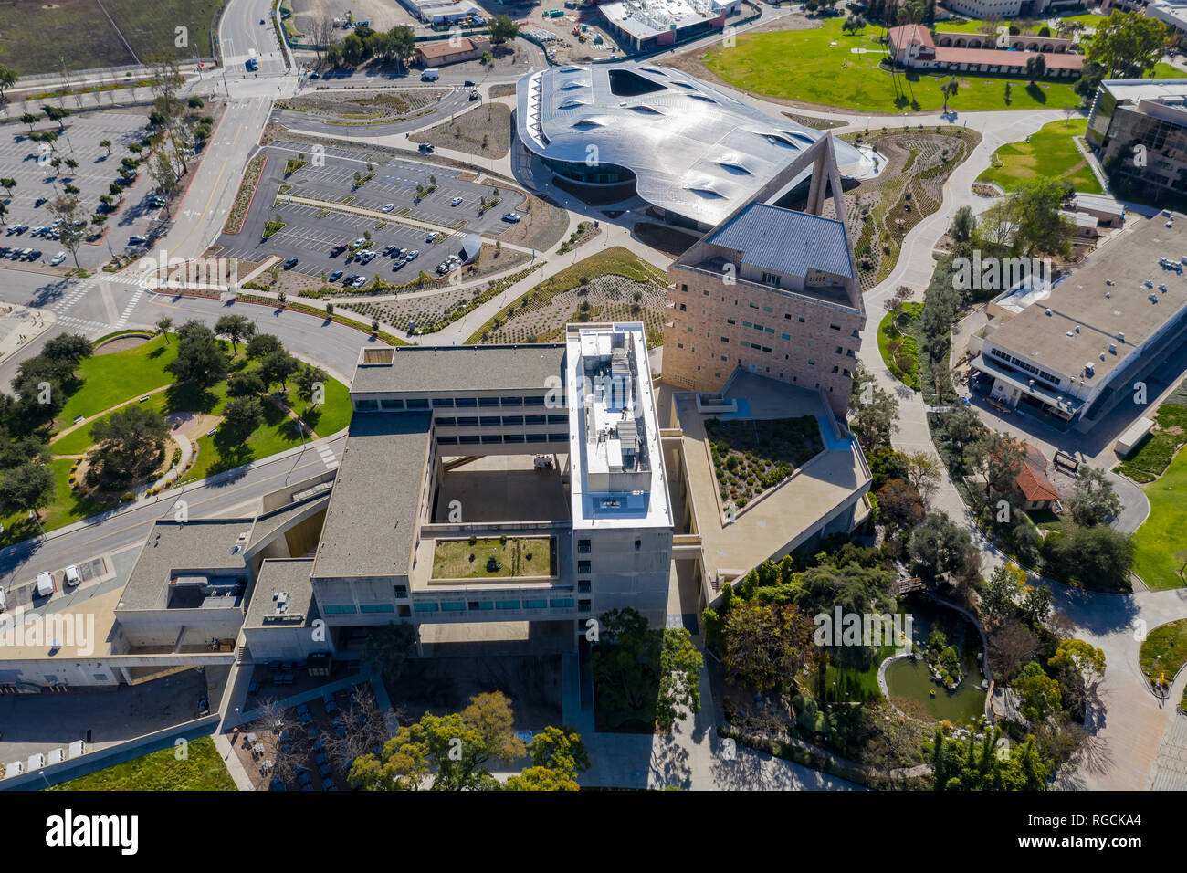 Aerial view of the Cal Poly Pomona campus, California - Stock Image