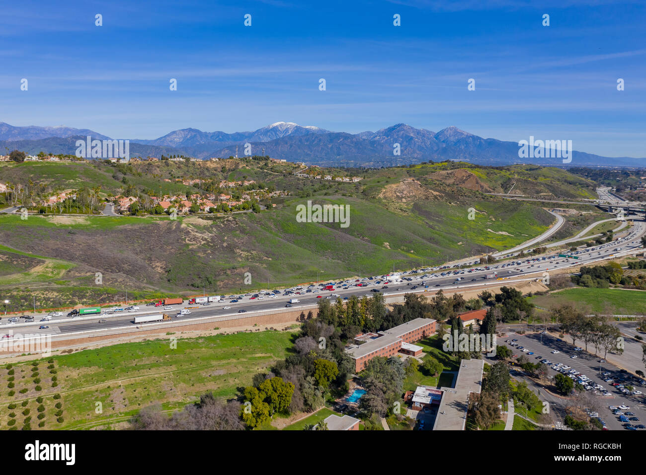 Aerial view of highway and cityscape of Pomona at California - Stock Image