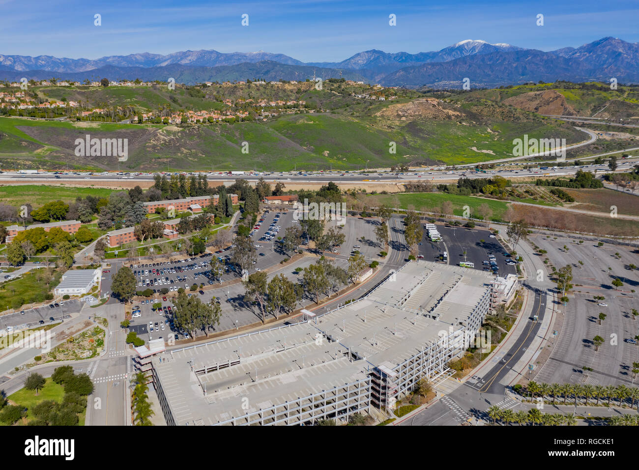 Aerial view of Magnolia Ln Parking of Cal Poly Pomona at Los Angeles County, California - Stock Image