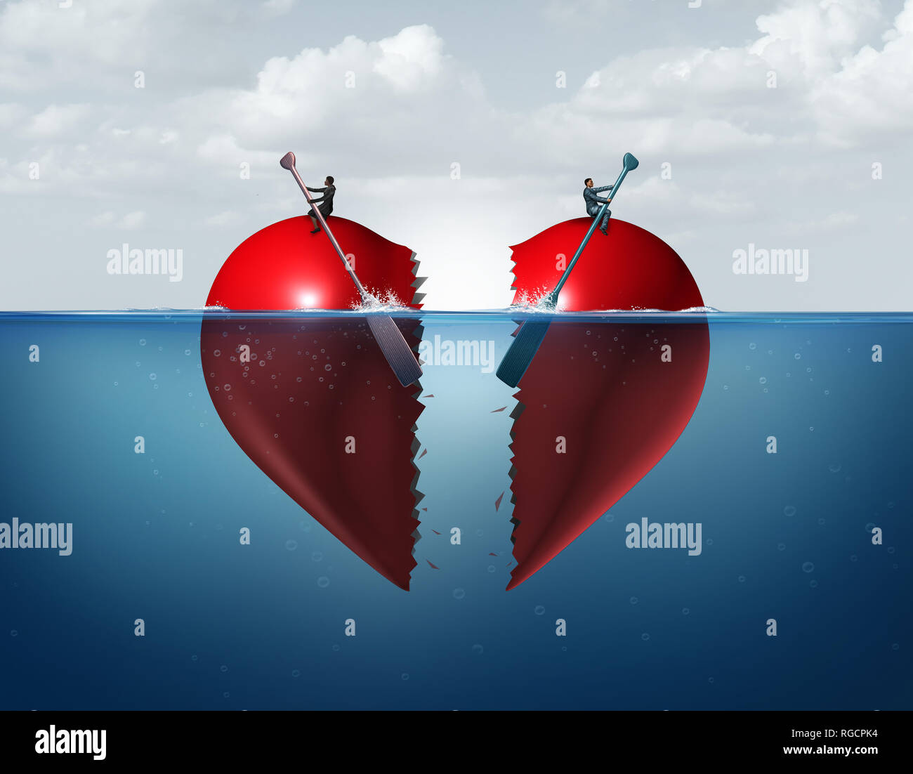 Divorce separation as a broken relationship with a couple drifting away breaking a heart apart showing the concept of a marriage dispute. - Stock Image